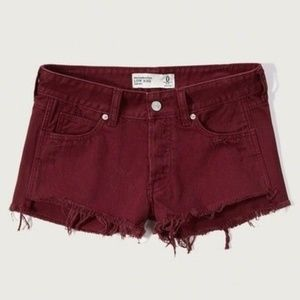 Abercrombie & Fitch Low Rise Maroon Jean Short